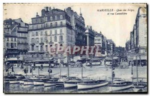 Postcard Old Marseille Quai des Belges and street Cannebiere