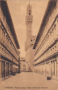 Italy Firenze Florence Portico degli Uffizi e Palazzo Vecchio
