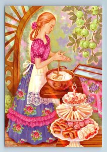 PRETTY GIRL cooking Marshmallow Sweets Kitchen by Sitaya New Unposted Postcard