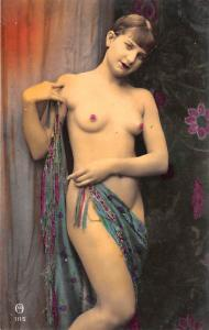 French Tinted Nude Old Vintage Antique Post Card Unused