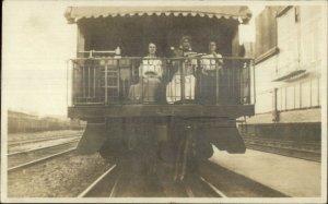Women Back of RR Train Car International epworth League Pennant RPPC c1910