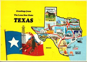Texas Greetings From The Lone Star State With Map and State Flag 1986