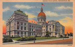 Indiana State Capitol, Indianapolis, Indiana, Early Linen Postcard, Unused