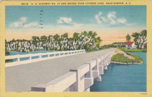 South Carolina Sumter U S Highway No 15 And Bridge Over Cypress Lake 1948