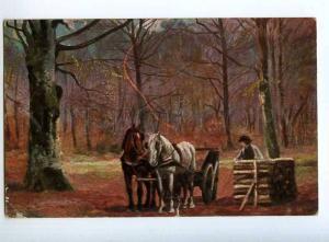 240840 AUTUMN Rural Life HORSE w/ Cart Vintage postcard