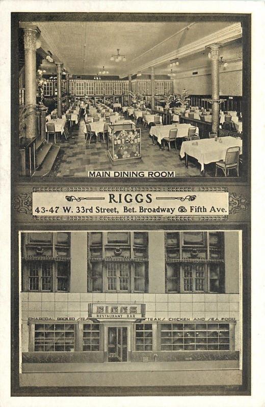 New York City~Rigg's Restaurant Bar~Dining Room Interior~Sepia Lumitone 1940s