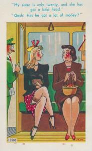 Ladies On Old Bus Travel Inspector Bald Head Gold Diggers Saucy Comic Postcard