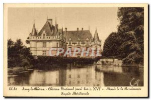 Old Postcard Azay le Rideau Chateau National Hist My XVI Renaissance Facade M...