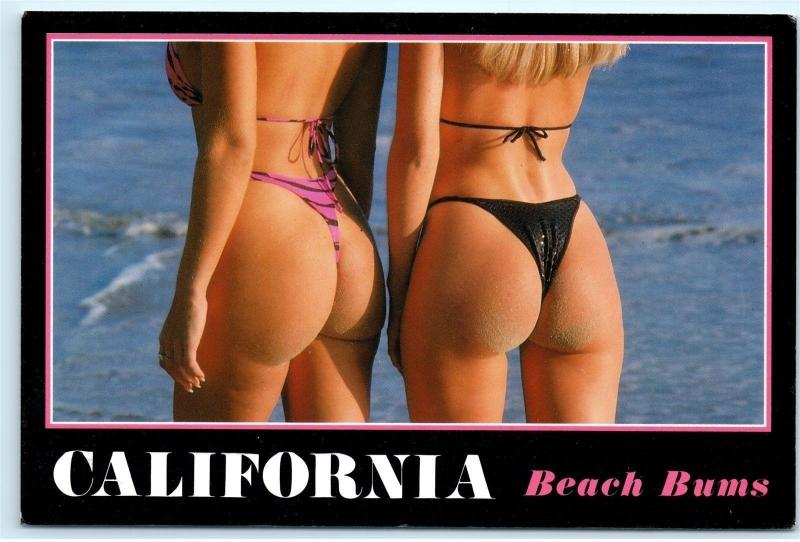 *c1991 California Beach Bums Thong Bikinis 90s Old Vintage 4x6 Postcard B93