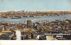 New York City~East River & Brooklyn~Waterfront Rooftops~1910 Postcard