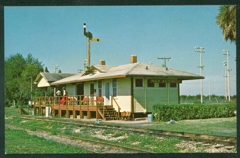 Trilby X Atlantic Coast Line Station San Antonio Florida Train Railroad Postcard