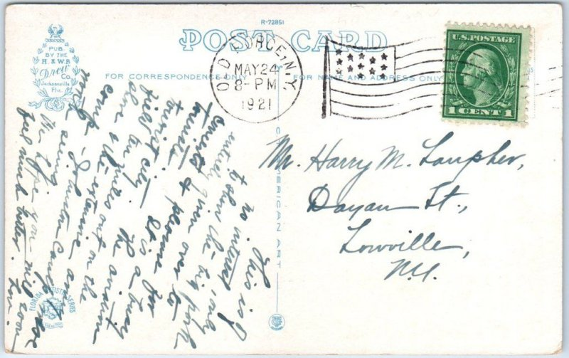 Jacksonville, Florida Postcard HOTEL WINDSOR Front View Curteich 1921 Cancel