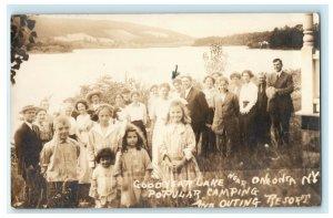 1913 Goodyear Lake Oneonta New York NY Church Outing RPPC Photo Antique Postcard