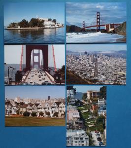 Quality Set of 6 Brand New Glossy Postcards, San Francisco, California, USA