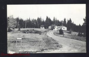 RPPC WILSON'S HILLS MAINE BILL BRYANT'S CAMPS REAL PHOTO POSTCARD VINTAGE