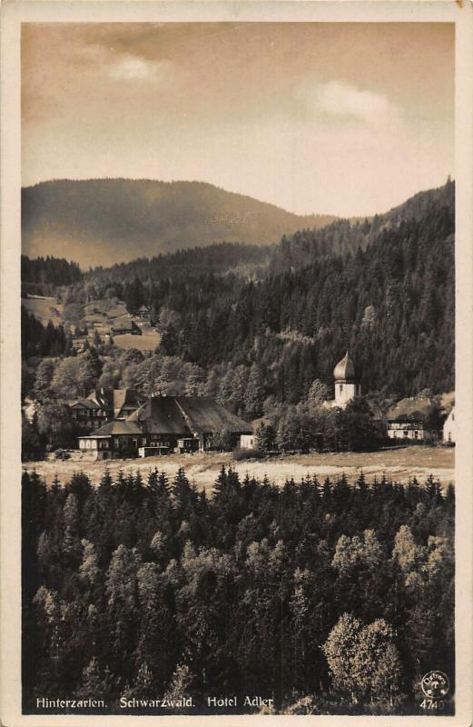 Hitnerzarten Schwarzwald Hotel Adler Pension River Church Postcard