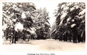 Michigan MI Real Photo RPPC Postcard 1940s MANCELONA Greetings from Winter Scene