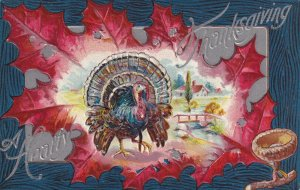 THANKSGIVING, 1900-10s; WIld Turkey framed in Red Leaf, Country Scene