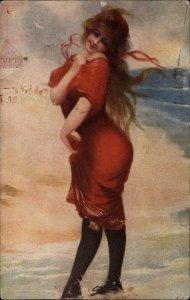 BATHING BEAUTY Plump Woman in Bathing Costume c1910 Postcard