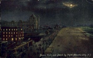 Boardwalk and Beach at Night in Atlantic City, New Jersey