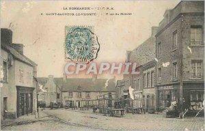 Postcard Old Normandy St Savior Place du Marche Vicomte
