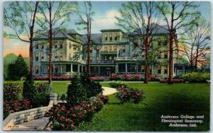 1940s Vintage Indiana Postcard Anderson College & Theological Seminary Linen