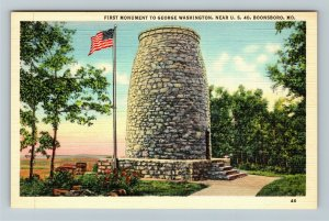 Boonsboro MD-Maryland, First Monument To George Washington, Linen Postcard
