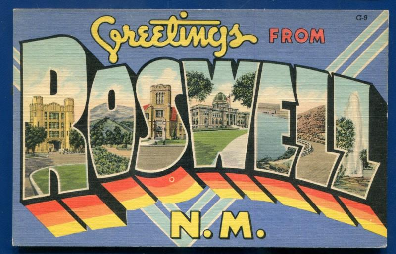 Roswell New Mexico nm large letter letters linen postcard