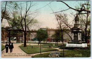 ST. JOHN, New Brunswick N.B.  KING SQUARE Band Stand Young Monument Postcard