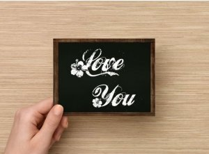 Set of 6  Postcards Blackboard Greetings - Love You - Simple Expression