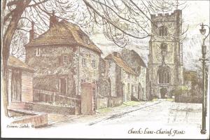 Postcard Art Painting Church Lane CHARING Kent by Diane Setek