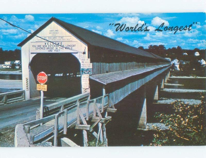 Unused Pre-1980 WORLD'S LONGEST COVERED BRIDGE Hartland To Somerville NB d3502