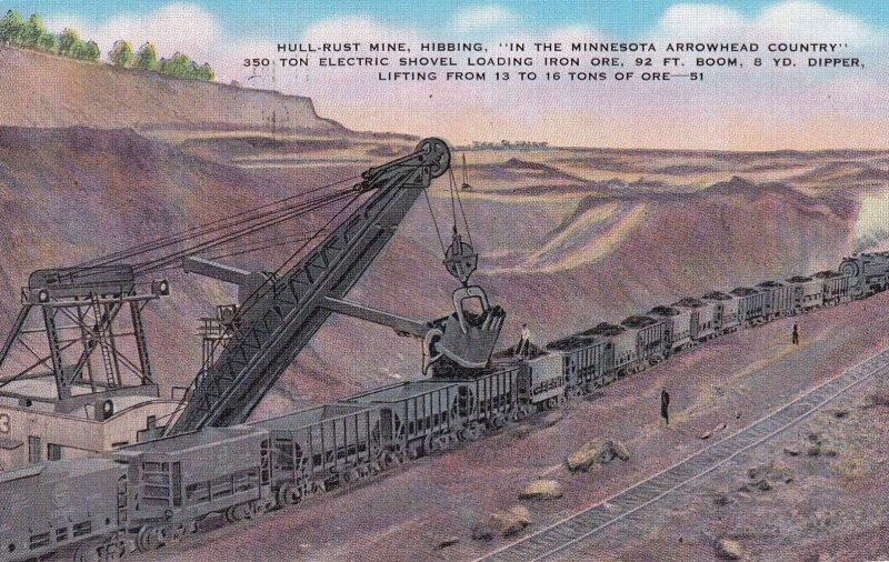 MINNESOTA, PU-1941; Hull-Rust Mine, Hibbing, 350 Ton Electric Shovel Loading ...
