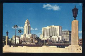Los Angeles, California/CA Postcard, Civic Center Skyline From Union Station