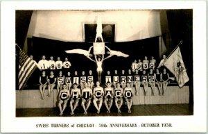 1939 Gymnastics RPPC Photo Postcard SWISS TURNERS OF CHICAGO - 50th Anniversary