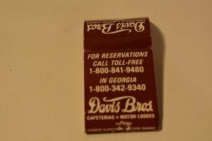 Davis Bros. Cafeterias Motor Lodges 20 Strike Matchbook Cover