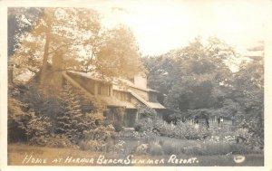 RPPC Home At Harbor Beach Summer Resort, Michigan Lake Huron 1936 Postcard