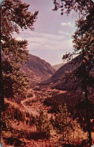 Clear Creek Valley from Berthoud Pass, CO, Chrome Vintage Postcard g9386