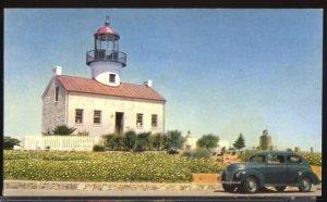 USA Postcard Point Loma Lighthouse Gas Advertising on Reverse  Vintage Car 1939