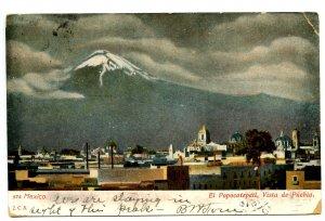 Mexico - Cholula, Pueblo. View of El Popocatepetl Volcano  (corner damage)