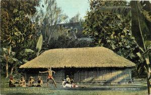 Vintage Postcard Tahiti Kanak Dancing