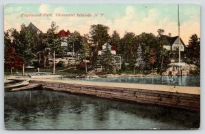Edgewood Park NY~Thousand Islands~Boats Along Thick Dock~Large Letters~c1910 PC