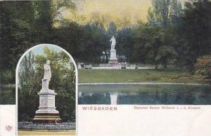 2-Views, Denkmal Kaiser Wilheim l. i.d. Kurpark, Wiesbaden (Hesse), Germany, ...