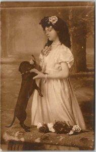 1910s Germany RPPC Real Photo Postcard Pretty Girl Silk Dress / Black Puppy Dog