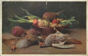 Art Postkarte Vegetables bowl pigeons still life