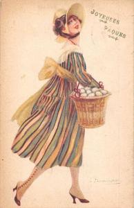Easter Joyeuses Paques! Woman Eggs Basket Illustrator S. Bompard Signed 1920