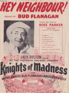 Hey Neighbour Bud Flanagan 1950s Sheet Music