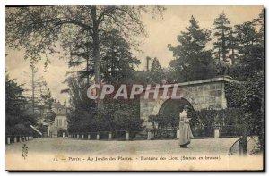 Old Postcard Paris Fountain In Garden Plants Lions Bronze statues