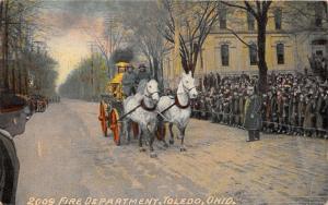 F6/ Toledo Ohio Postcard 1911 Fire Department Horse Wagon