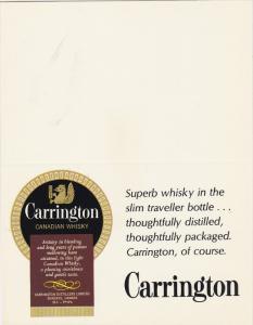 ADV: Carrington Canadian Whisky, Superb Whisky in the Slim Traveller Bottle....